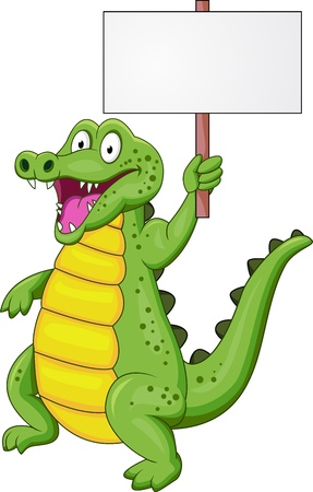 stylistic: Crocodile cartoon with blank sign Illustration