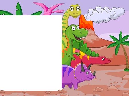 Dinosaur cartoon with blank sign  Vector