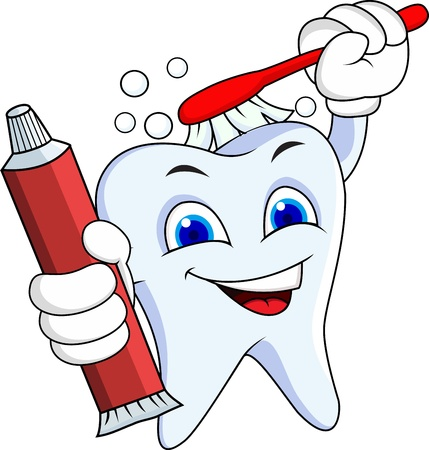 dentist cartoon: Tooth cartoon character