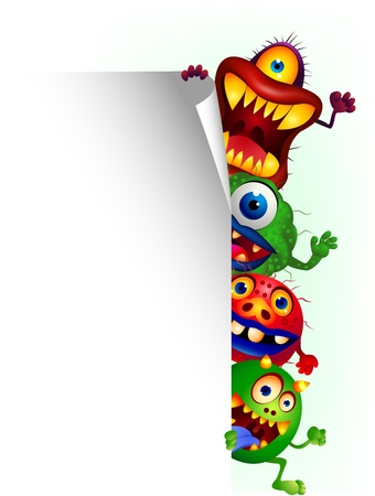 Monster cartoon with blank sign Stock Vector - 13496828