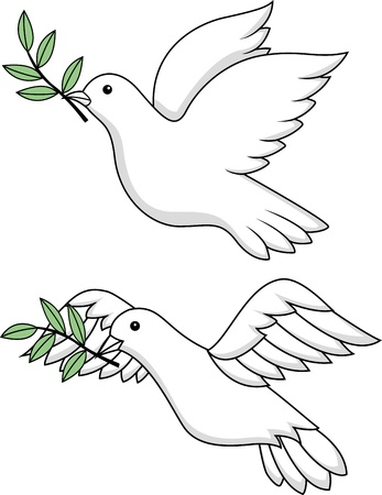white dove: White dove symbol  Illustration