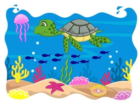 algas marinas: Tortuga de dibujos animados Vectores