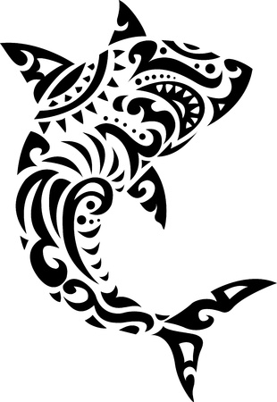 shark teeth: Shark tribal tattoo  Illustration