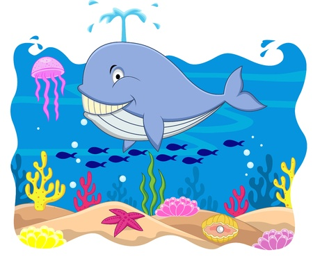 Whale cartoon  Vector