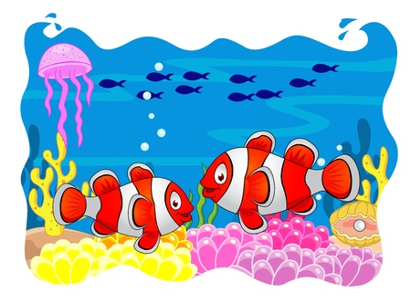 sea anemone: Clown fish cartoon  Illustration