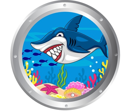 Shark cartoon with porthole frame  Vector
