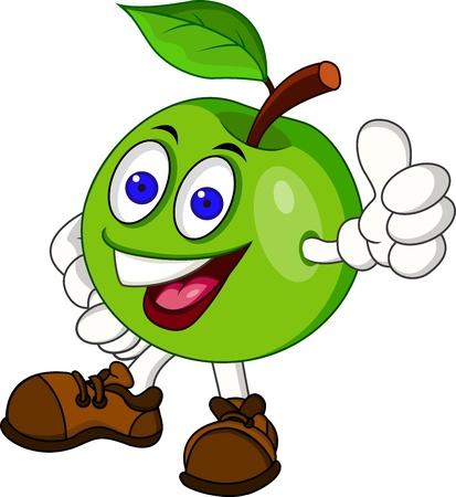 frutas divertidas: Manzana verde personaje de dibujos animados Vectores