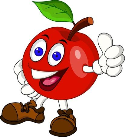 mela rossa: Red apple personaggio dei cartoni animati Vettoriali