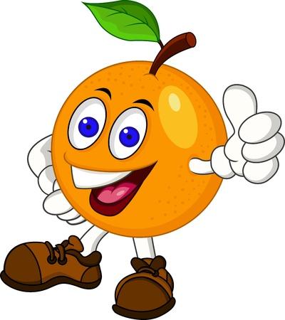 frutas divertidas: Personaje de dibujos animados de Orange