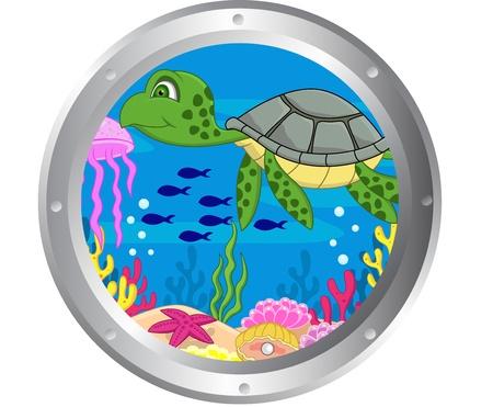 submarino: Tortuga de dibujos animados con el marco de ojo de buey