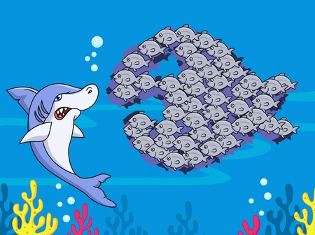 Shark and group of fish Stock Vector - 13496695
