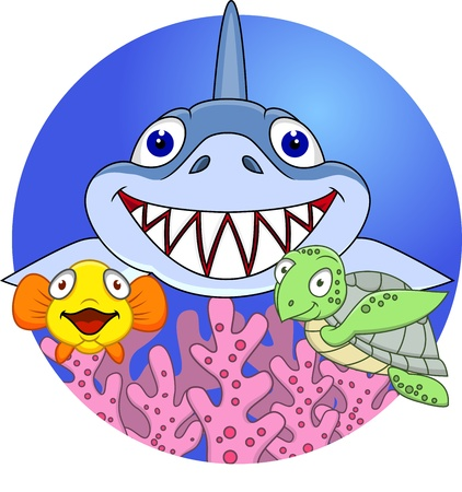 Friendly shark with small fish and turtle  Vector