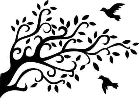 boom met vogels: Natuur achtergrond Stock Illustratie