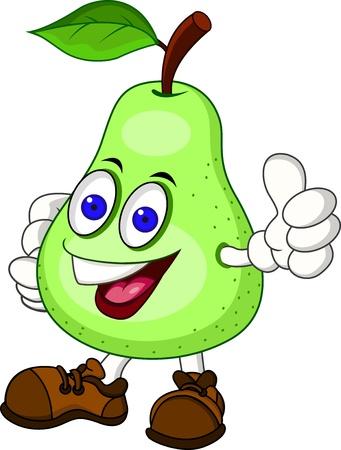 frutas divertidas: personaje de dibujos animados de pera Vectores