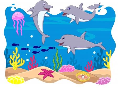 dauphin: Drôle de bande dessinée dauphin Illustration