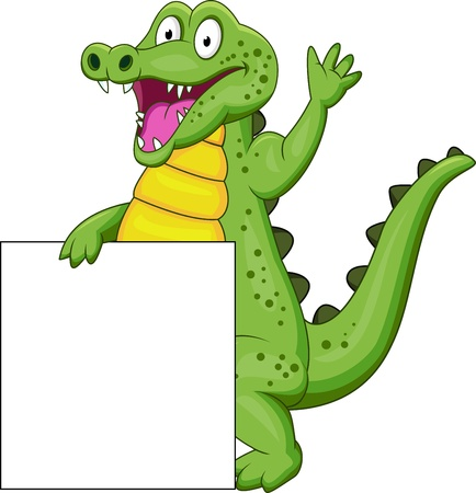 crocodile with blank sign Vector