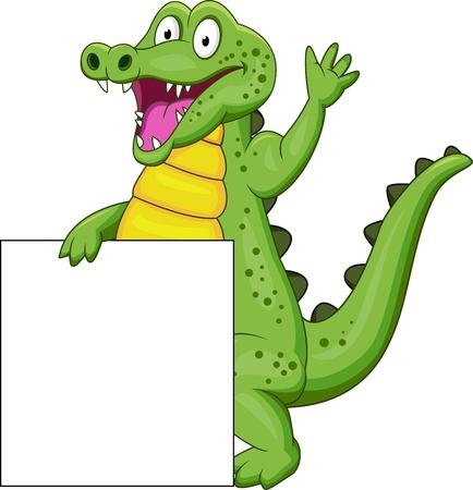 crocodile: crocodile with blank sign