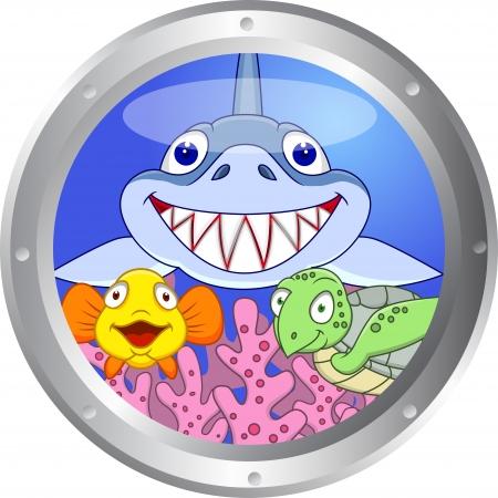 ventana ojo de buey: Funny Fish y la tortuga Vectores