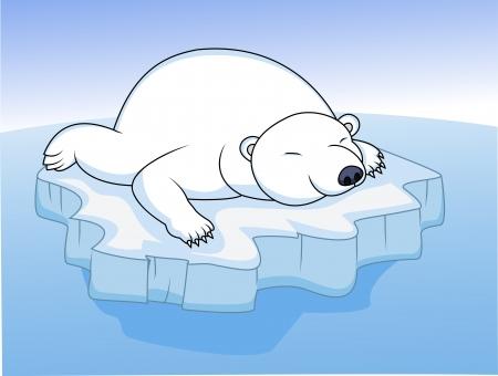 тундра: Белый медведь отдыхает на льду Иллюстрация
