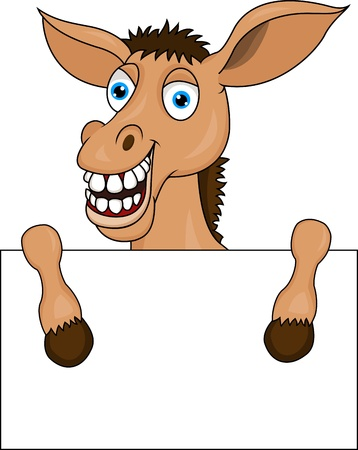 donkey with blank sign Stock Vector - 13494891