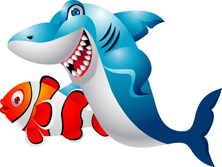 Shark with clown fish  Vector