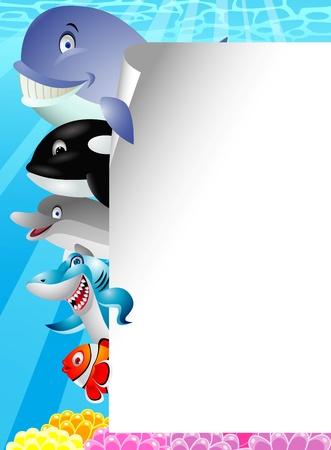 pez payaso: Mar de dibujos animados en blanco con el signo de la vida Vectores