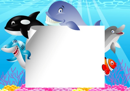 Sea life cartoon with blank sign  Vector
