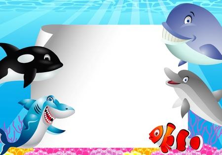 tiburones: Mar de dibujos animados en blanco con el signo de la vida Vectores