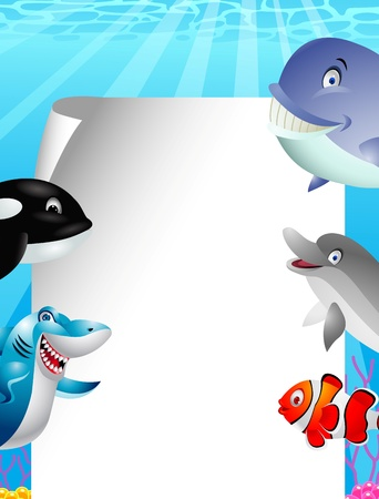 Sea life cartoon with blank sign Stock Vector - 13496857