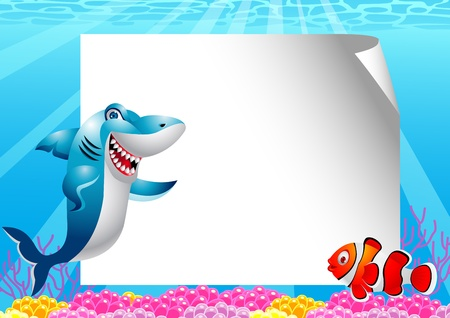 poisson rigolo: Poissons requin et le clown avec le signe vierge Illustration