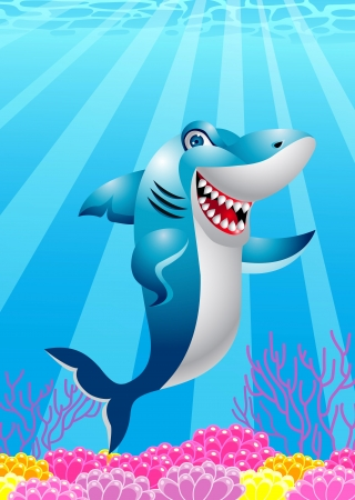 sea anemone: shark cartoon Illustration