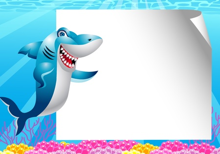 anemones: shark with blank sign Illustration