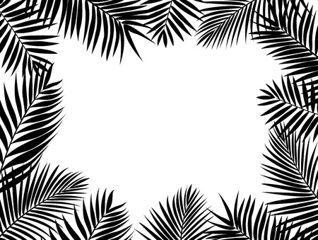 black and white forest: Palm leaf silhouette