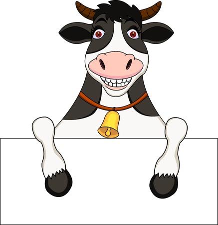 cow bells: Vaca de la historieta con cartel en blanco