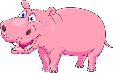 Funny hippo cartoon Vector