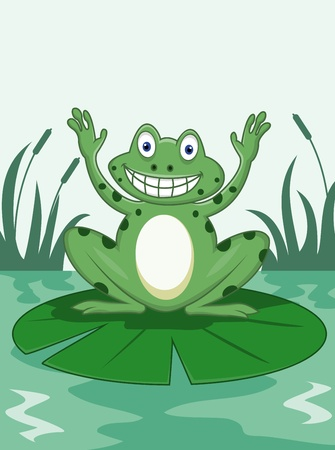 puddle: Funny frog  Illustration