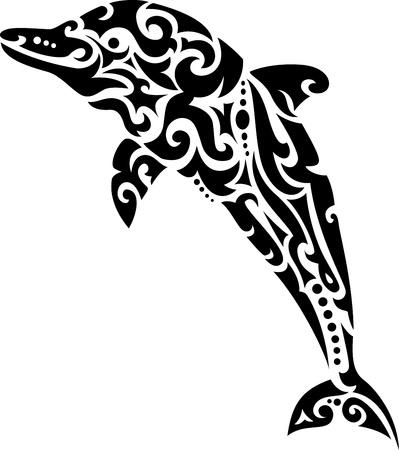 delfini: Dolphin tatuaggio tribale Vettoriali