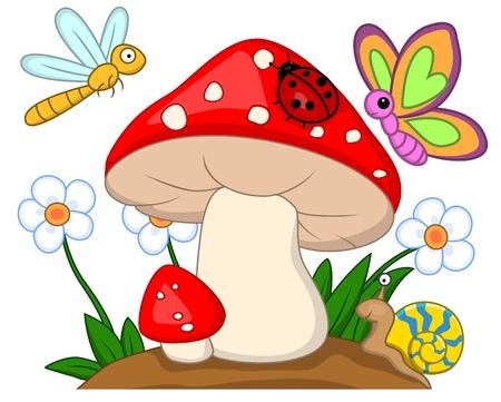 cartoon mushroom: Small animal  Illustration