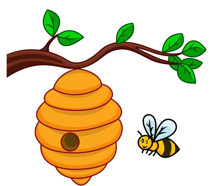 cute bee: illustration of isolated beehive branch
