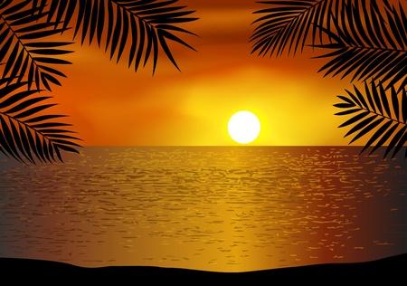 Tropisch strand achtergrond Vector Illustratie