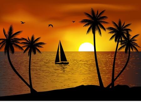 Fondo de playa tropical Ilustración de vector