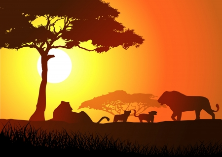 Silhouette of lion family  Vector