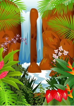 waterfall river: Tropical forest background