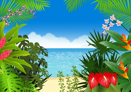 tropical plant: Fondo de playa tropical Vectores
