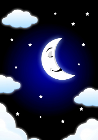 good night: Moon cartoon sleeping