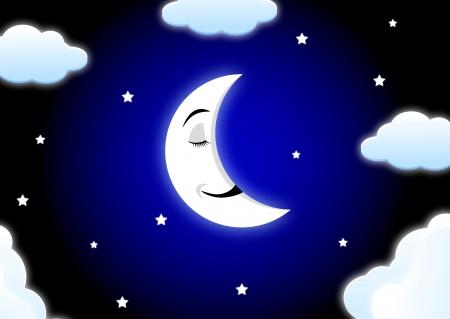 noche y luna: Luna de dibujos animados para dormir Vectores
