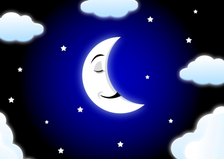 Moon cartoon sleeping Stock Vector - 13726443