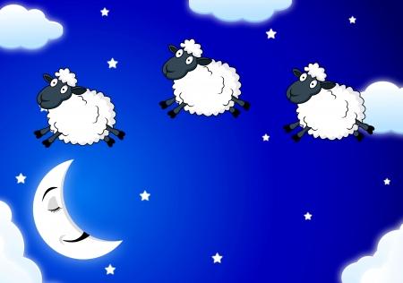 and sheep: Contando ovejas Vectores