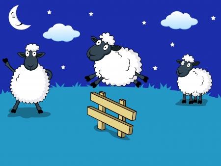 mouton cartoon: compter les moutons