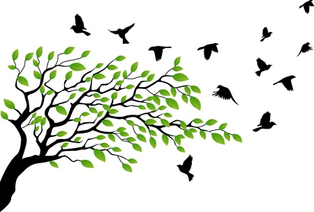 boom met vogels: Boom silhouet met vogel vliegen